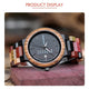 Luxury  Designer Date Week Display Wood  Watch for men