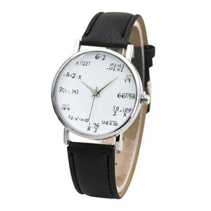 Mathematical equation quartz ladies watch with leather strap