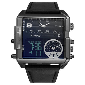 Men military stlye sports watch  with 3 time zone