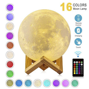 Rechargeable 16 Color Moon Lamp
