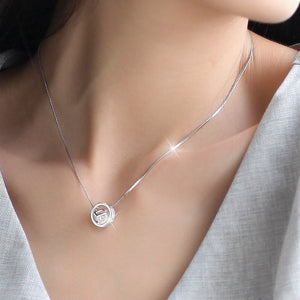 3 in 1 Silver Crystal Box Cube Necklace Pendant for Women