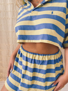 Reworked blue and yellow polo set