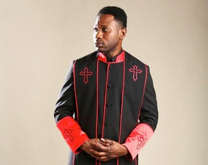 Mens Black/Red Clergy Robe With Matching Stole