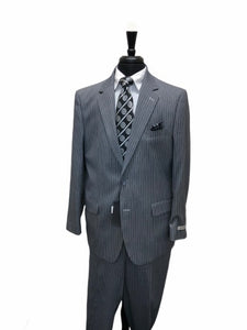 Gray and White Pinstripe Suit Modern Fit