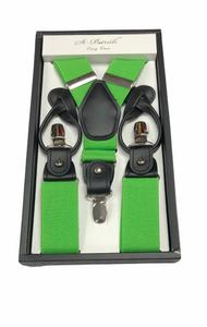 Green Suspenders Button & Clip Convertible