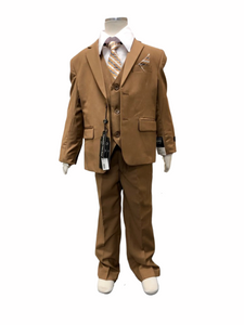 Boys 5 Piece Suit Set Taupe