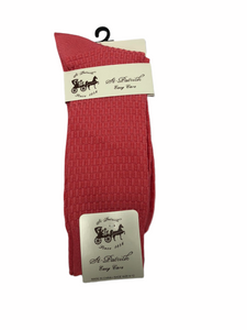 Basket Weave Dress Socks Coral