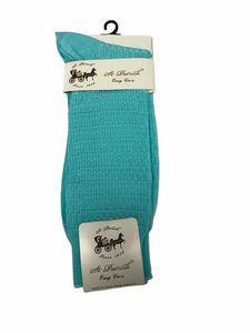 Basket Weave Dress Socks Aqua
