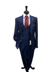 Needle and Stitch Blue Windowpane Slim Fit suit