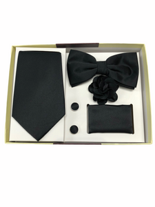 Solid Black 5 Pcs. Bow Tie/Tie Gift Set