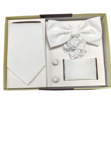 Solid White 5 Pcs. Bow Tie/Tie Gift Set