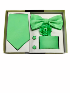 Solid Lime Green 5 Pcs. Bow Tie/Tie Gift Set