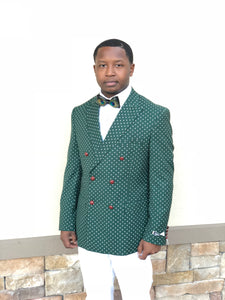 Mens Slim Fit Green Double Breasted Polka Dot Blazer