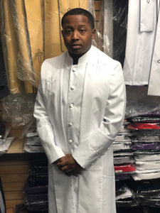 Mens White/White Clergy Robe With Matching Stole