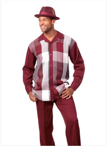 Montique Check Set Burgundy