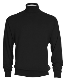 Cotton Blend Turtleneck Sweater Black