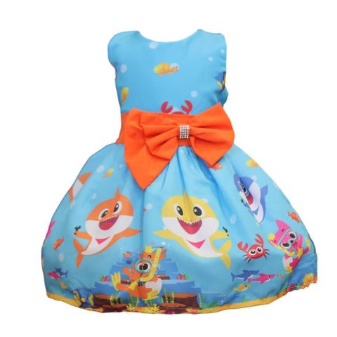 Baby Shark Dress w/Orange Bow by Baby Eden
