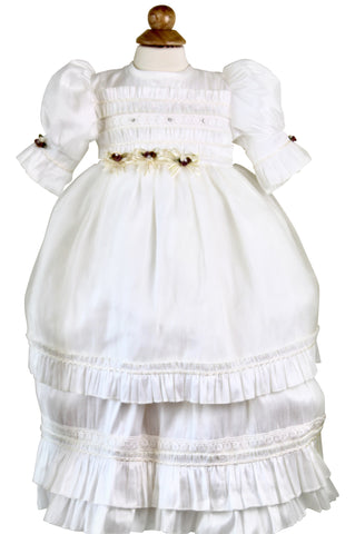 Cream Christening Dress by Cecilee