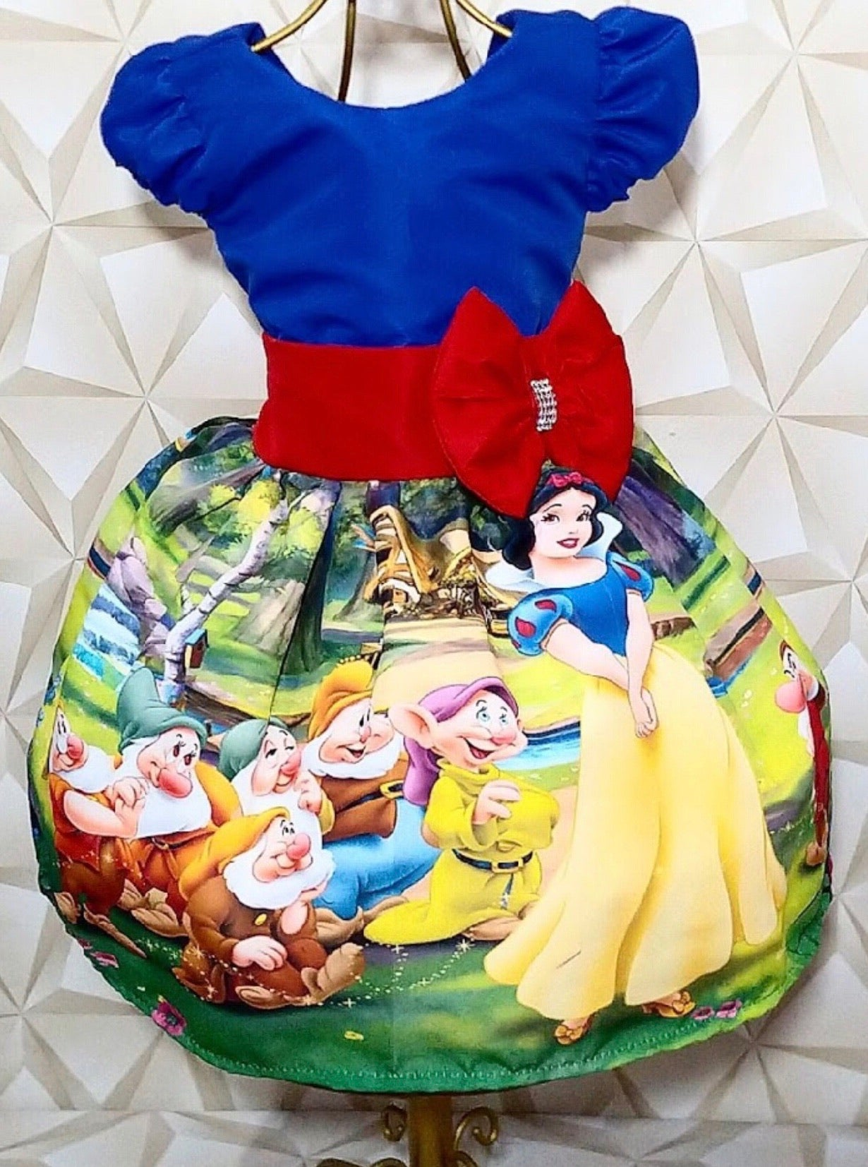 Snow White Blue top Red Bow