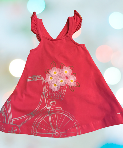 Mayoral Fucsia Dress -Bike with Flowers #3962