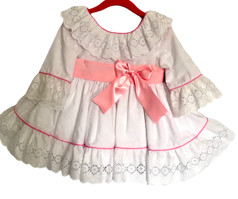Sonata White and Pink Dress Style No.509