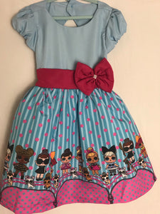 LOL Doll Dress Blue With Pink Bow