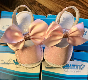 Wheti's Girls Leather Pink Sandal With Bow No.135