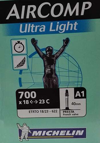 CÁ,MARA MICHELIN ULTRALIGHT A1 700X18/23 V/FINA 40M