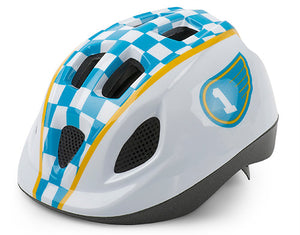 CASCO KID CARRERA BLANCO/AZUL/AMARILLO 46-53CM