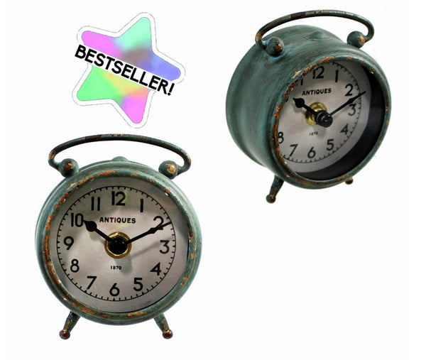 Antique Green Iron Table Clock