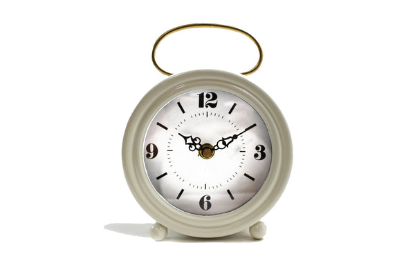 White Clock w/ Gold Handle