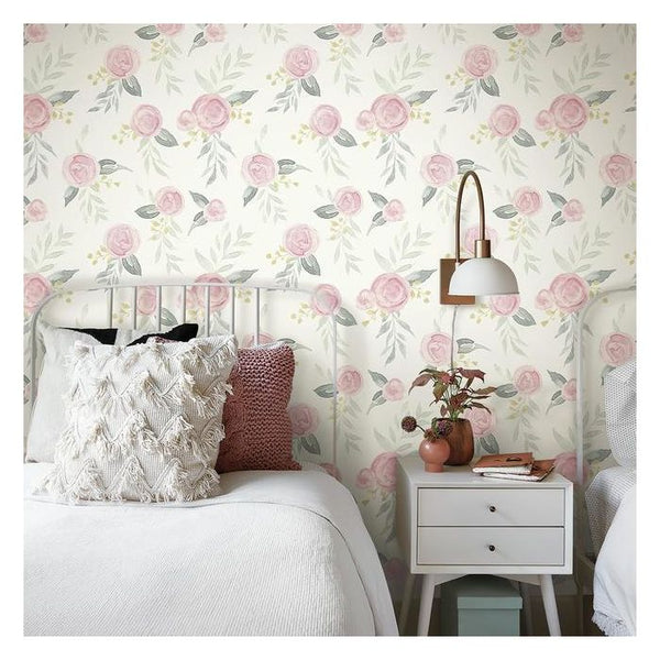 'Watercolour Roses' Peel & Stick Wallpaper