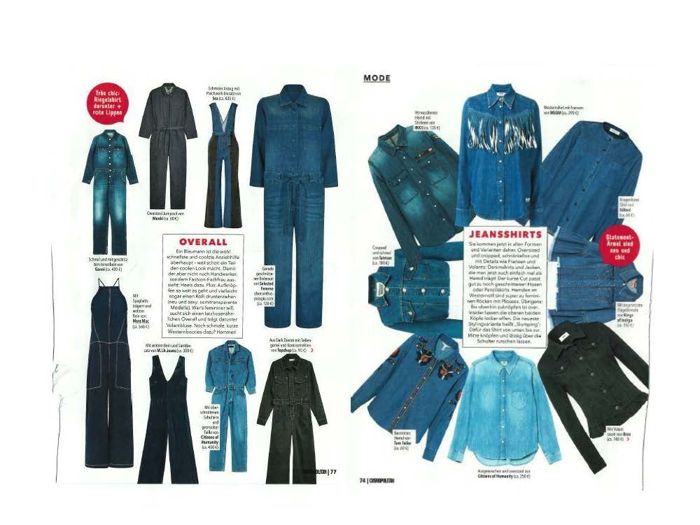 Amber Jumpsuit and Sofia Shirt featured in Cosmopolitan Germany