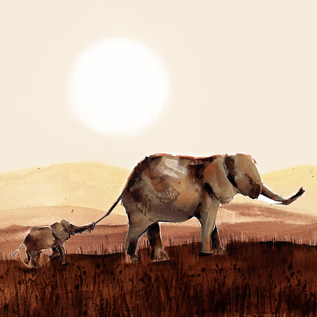 Mum and Baby Elephant illustration at Sunset