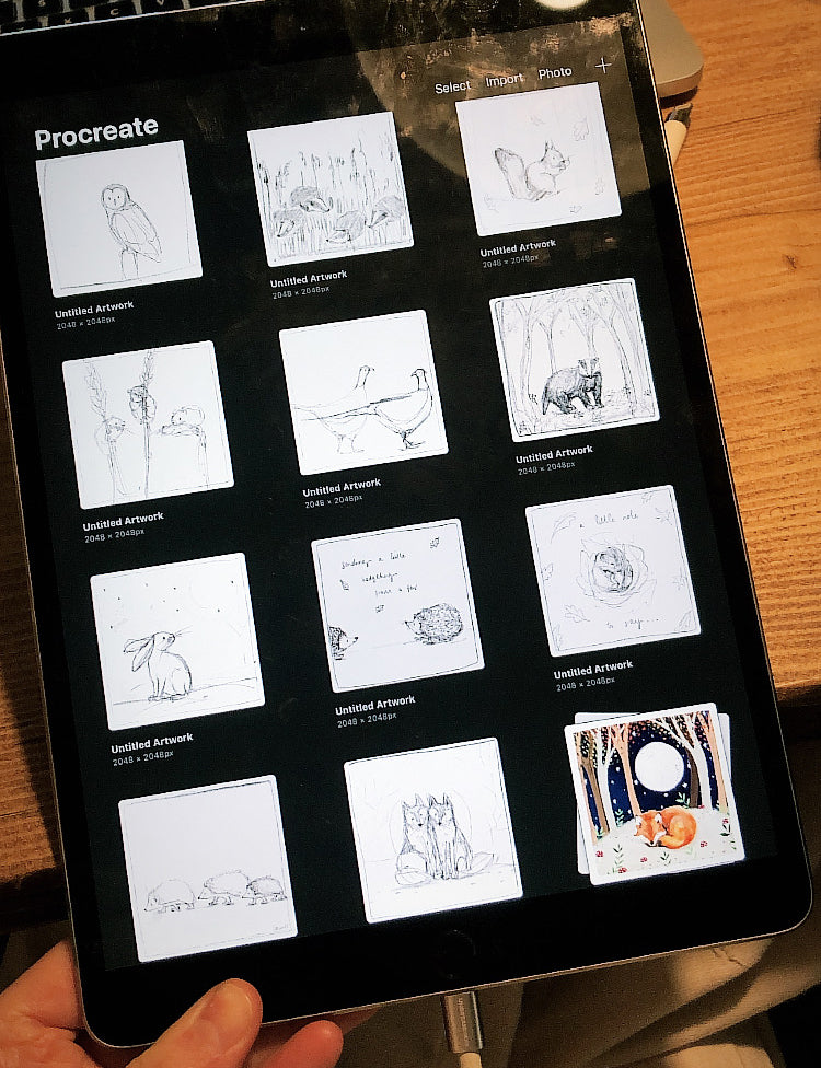 Procreate Thumbnails for planning