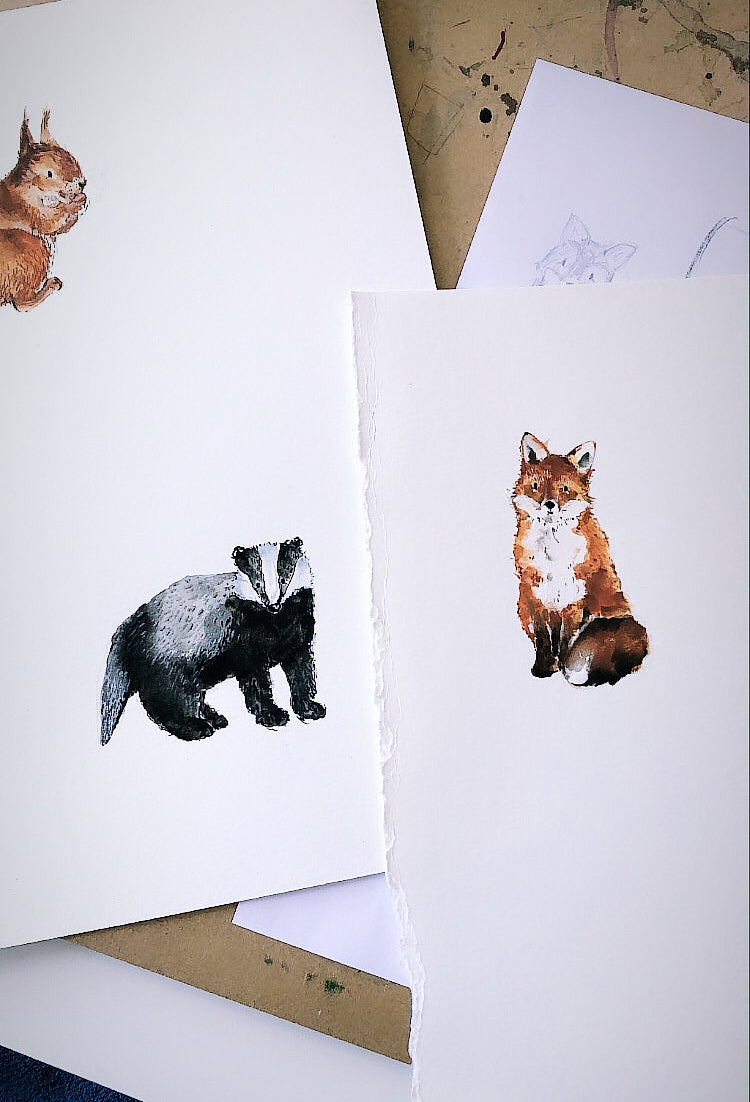 Badger and fox paintings