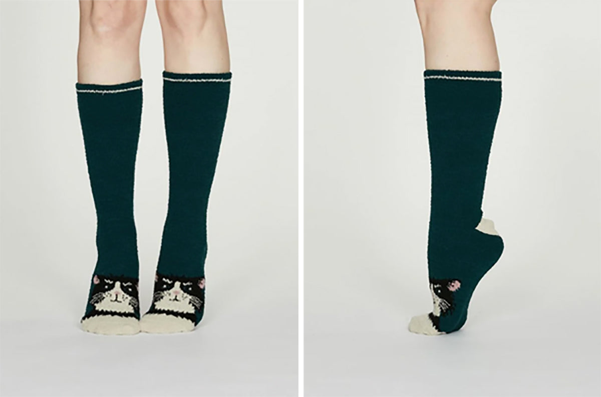 Thought - Rebecca Recycled Polyester Fuzzy Animal Socks