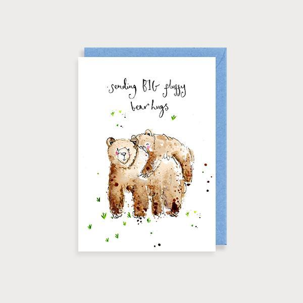 Image of illustrated friendship card with 2 bears hugging and the caption Sending Big Bear Hugs