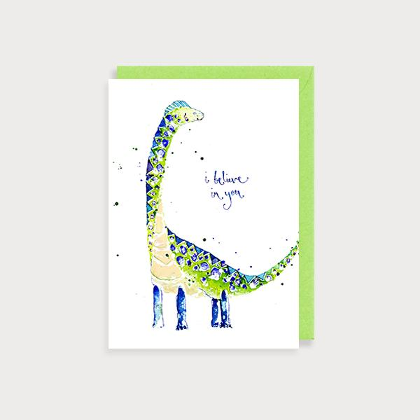 Image of illustrated encouragement card with dinosaur and the caption I Believe in You