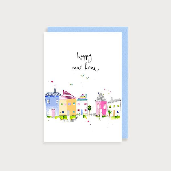 Image of illustrated card with a street view of houses and the caption happy new home
