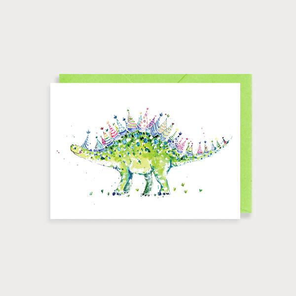 Image of illustrated card with a stegosaurus with birthday hats instead of spikes and no caption