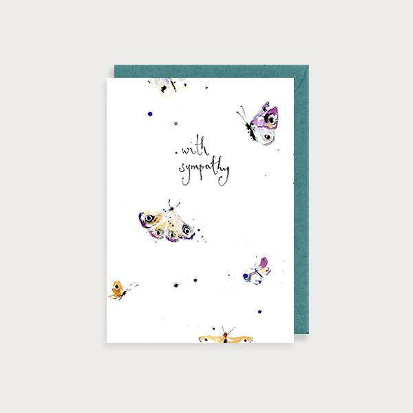 Image of ilustrated sympathy card with moths and the caption With Sympathy