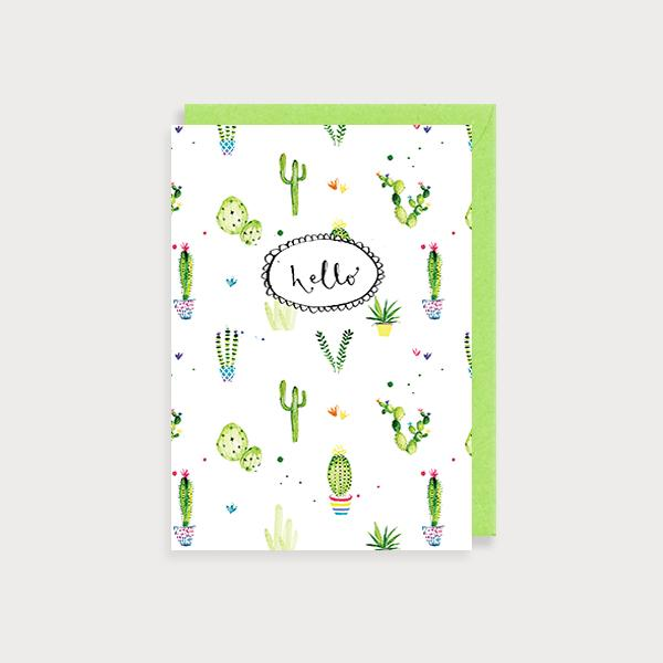 Image of illustrated friendship card with a cactus print and the caption Hello