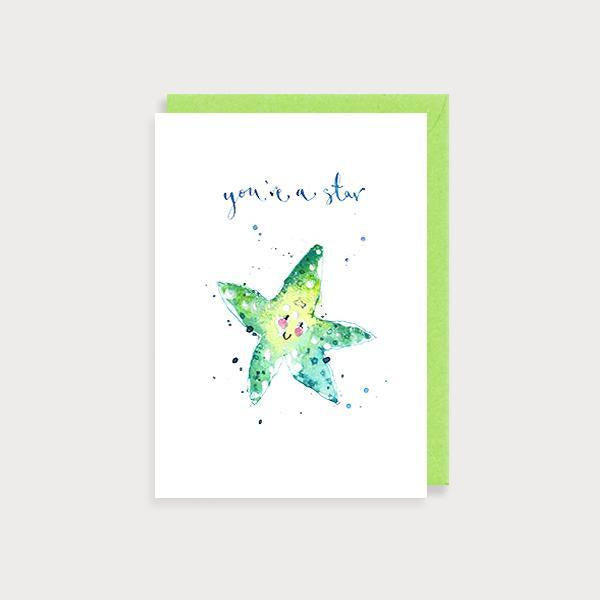 Image of illustrated congratulations card with a starfish and the caption You're a Star