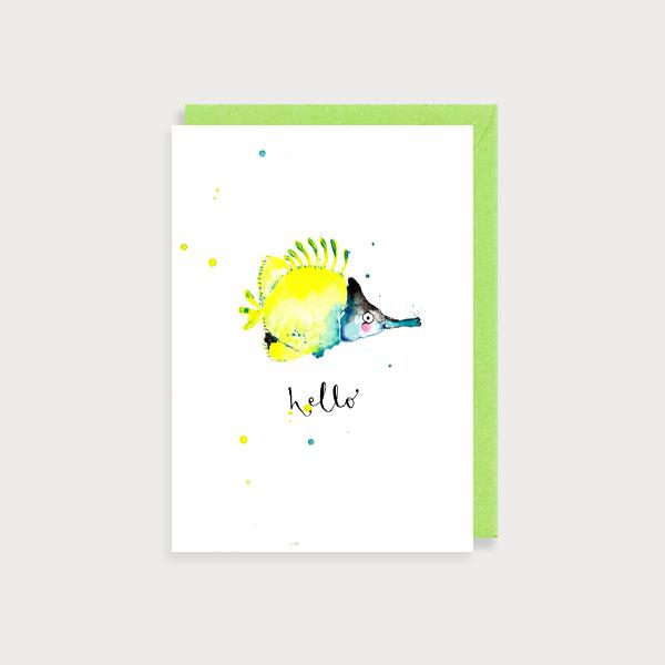 Image of illustrated card with a fish and the caption Hello