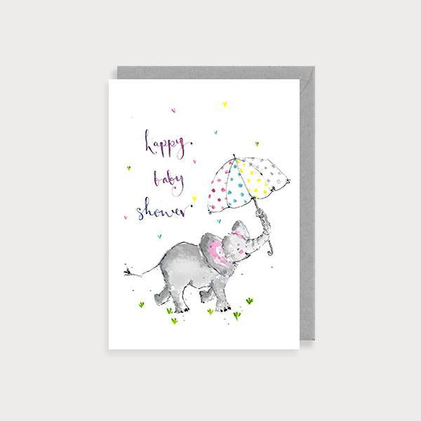 Image of illustrated baby shower card with an elephant holding an umbrella and the caption Happy Baby Shower