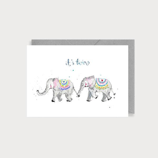 Image of illustrated card with two baby elephants and the caption It's Twins