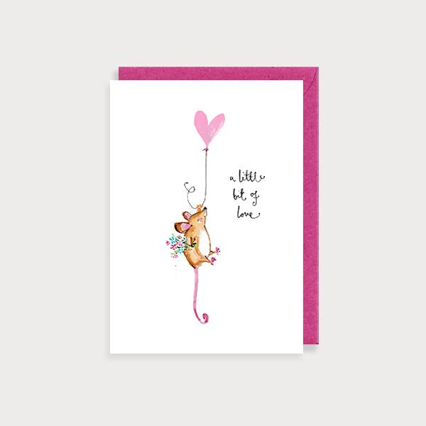 Image of illustrated friendship card with a mouse holding a heart shaped ballon and the caption A Little Bit of Love