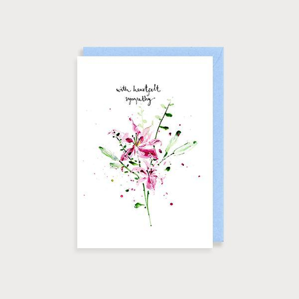 Image of ilustrated sympathy card with flowers and the caption With Heartfelt Sympathy