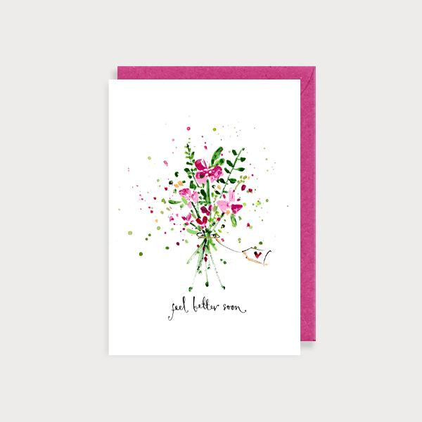 Image of illustrated card with a bunch of flowers and the caption Feel Better Soon